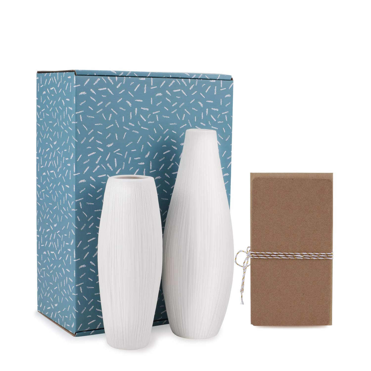D'vine Dev White Ceramic Vases with Waterfall Textured Detailing - Unique Design - Home D¨¦cor Deramic Vases Set of 2 - Gift Box Packaged