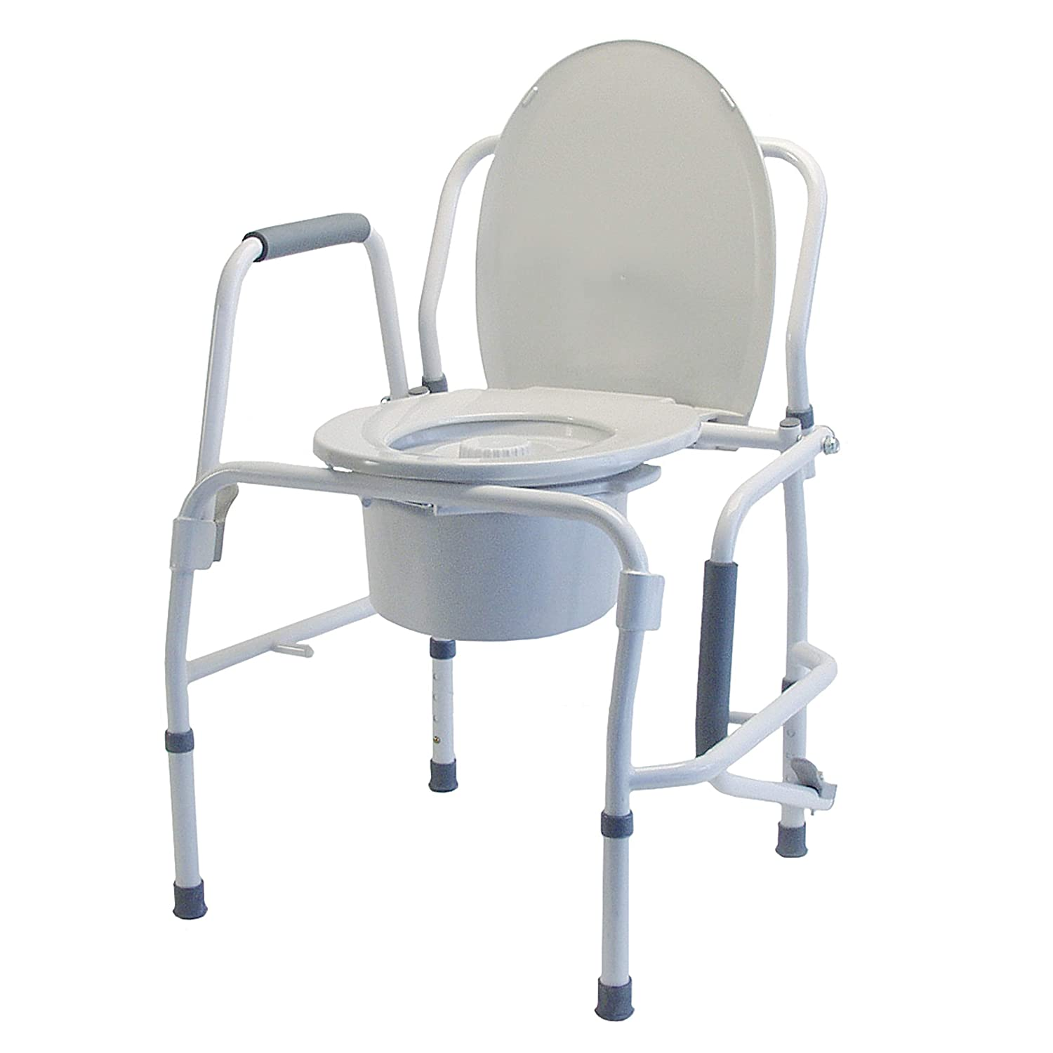Lumex 3-in-1 Bedside Commode, Raised Toilet Seat, and Toilet Safety Rail, 300 lb. Weight Capacity, 6433A: Industrial & Scientific