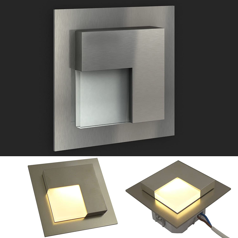 LEDIX LED Einbauleuchte TIMO Edelstahl gebürstet (3x). 230V Treppenbeleuchtung (1er bis 7er Set) Lichtfarbe  warmweiss. Wandleuchte Treppenlicht. Passend für Ø 60 mm Unterputz Einbaudose (Installationsdose). BITTE WÄH