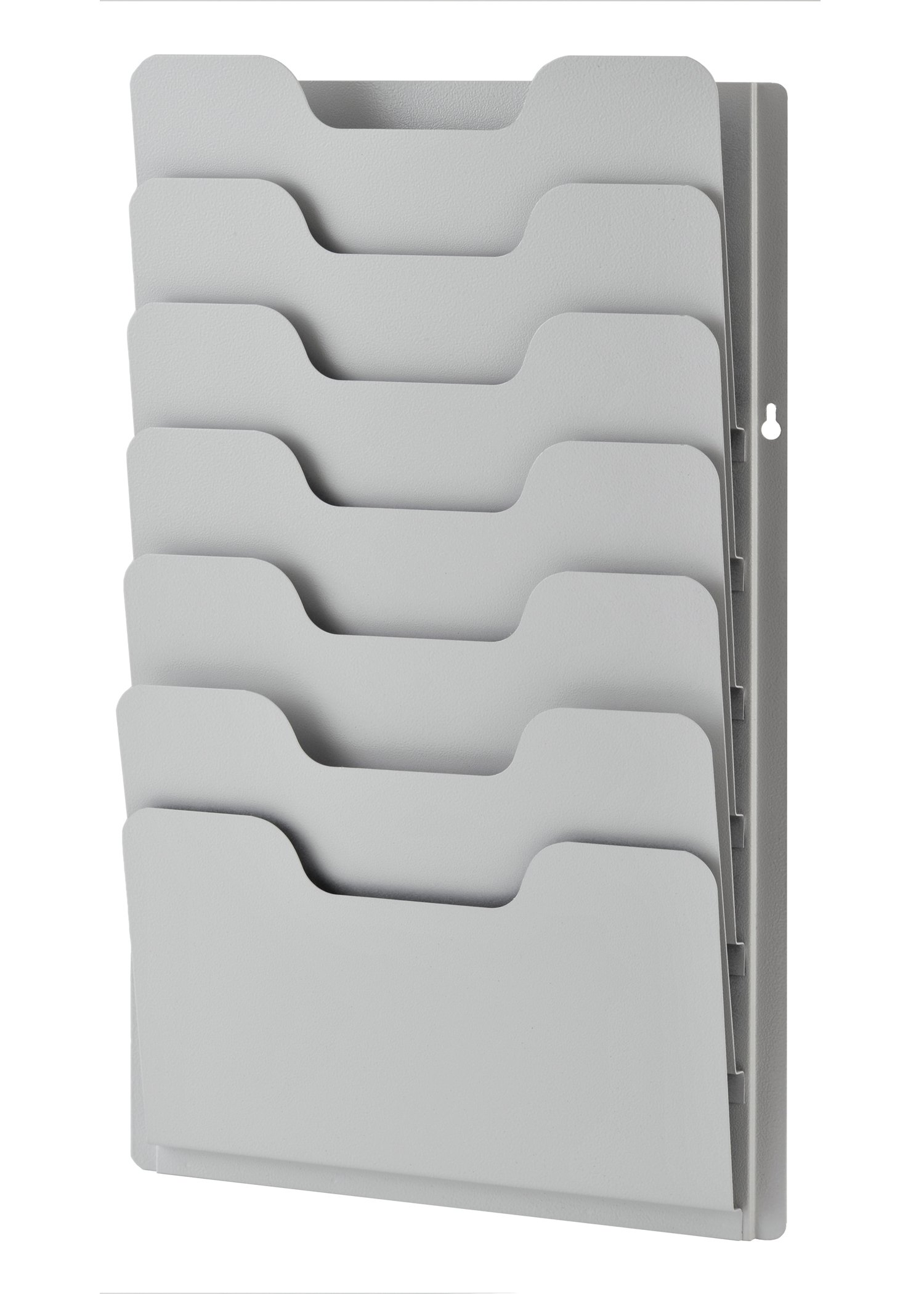 Buddy Products 7-Pocket Data Rack, Steel, 13.38 x 2 x 21.63 Inches, Platinum (0810-32)