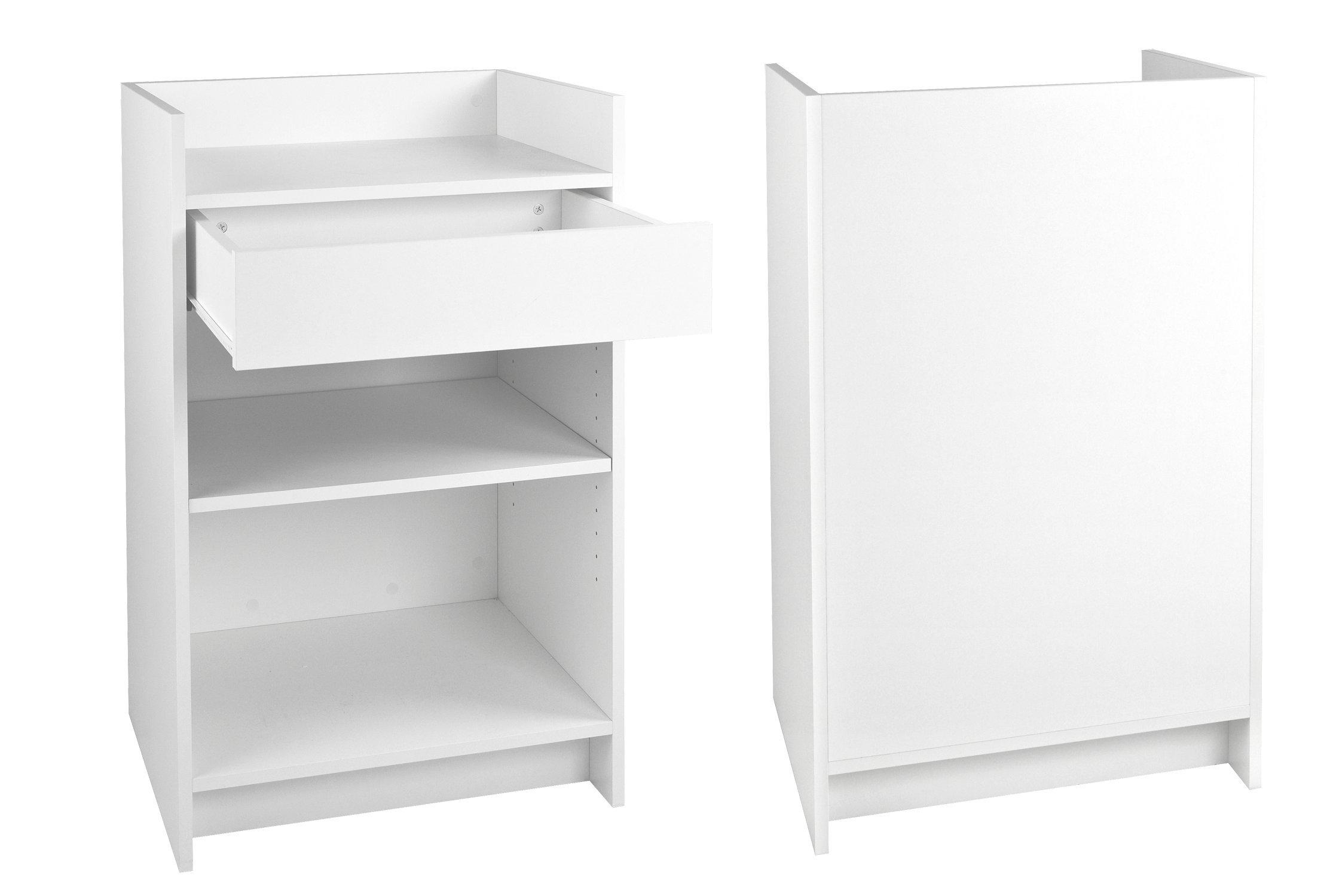 Wood Cash Register Stand, Adjustable Shelf, Drawer, 24'' W X 38'' H X 18'' D (White Melamine) by Only Garment Racks