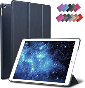 ROARTZ iPad Air 2 Case, Metallic Navy Blue Slim Fit Smart Rubber Coated Folio Case Hard Shell Cover Light-Weight Auto Wake/Sleep for Apple iPad Air 2nd Generation A1566/A1567 Retina Display
