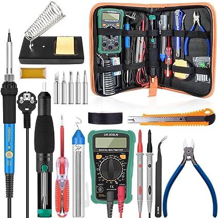 Handskit - Kit de soldador eléctrico de temperatura 110 V 220 V 60 W con multímetro