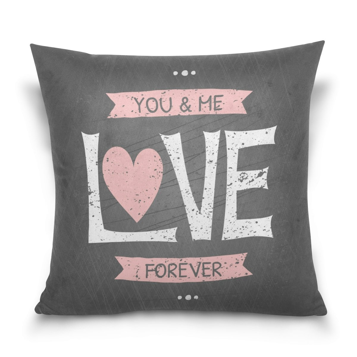 Top Carpenter You Me Love Velvet Plush Throw Pillow Cushion Case Cover - 16'' x 16'' - Invisible Zipper Home Decor Floral for Couch Sofa No Pillow Insert