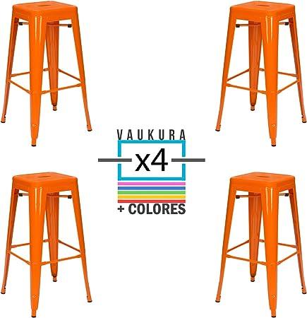 Vaukura Taburete Alto Tolix Pack 4 - Taburete Industrial Metálico Brillo (Naranja): Amazon.es: Hogar