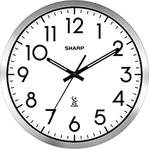 "Sharp Atomic Analog Wall Clock - 12"" Silver Brushed Finish - Sets Automatically- Battery Operated - Easy to Read - Easy to USE: Simple, Easy to Read Style fits Any Decor…"