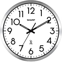 "Sharp Atomic Analog Wall Clock - 12"" Silver Brushed Finish - Sets Automatically- Battery Operated - Easy to Read - Easy…"