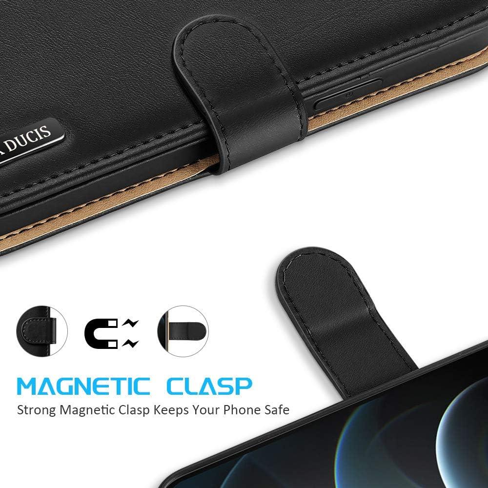 DUX DUCIS Wallet Funda para iPhone 12 Pro MAX 6.7 Negro Funda Flip Wallet Case Cover Carcasa Piel PU Billetera Soporte con Ranuras Tarjetas Cierre Magn/ético para iPhone 12 Pro MAX