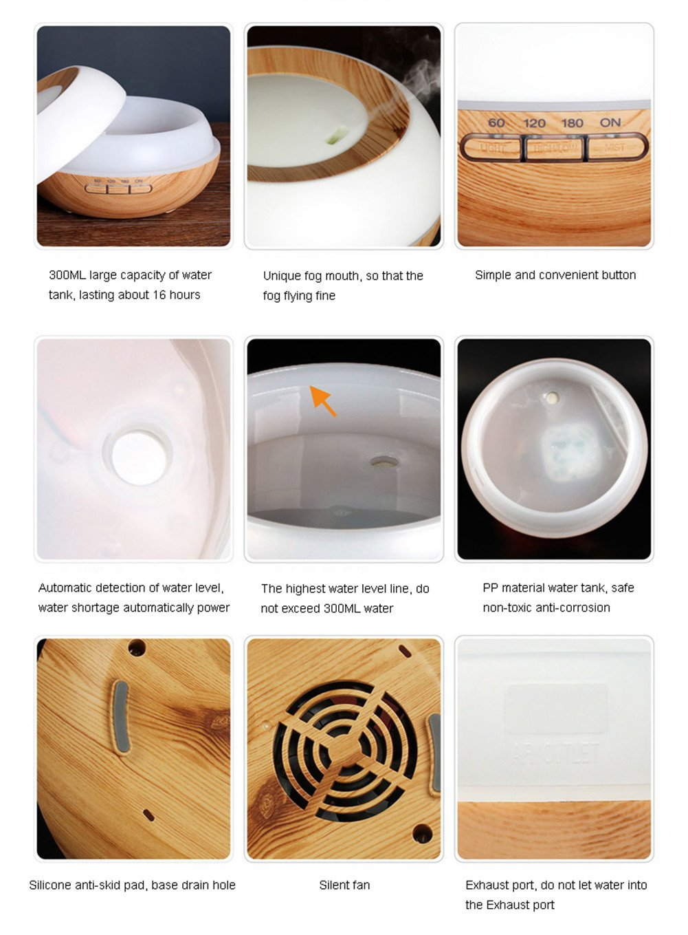 TRADE Yellow Wood Grain Ultrasonic Spray 7 Color Changing Waterless Auto off Perfect Night Companion 300ML Essential Oil Aromatic Air Diffusion Roundness Beauty Humidifier by TRADE® (Image #5)