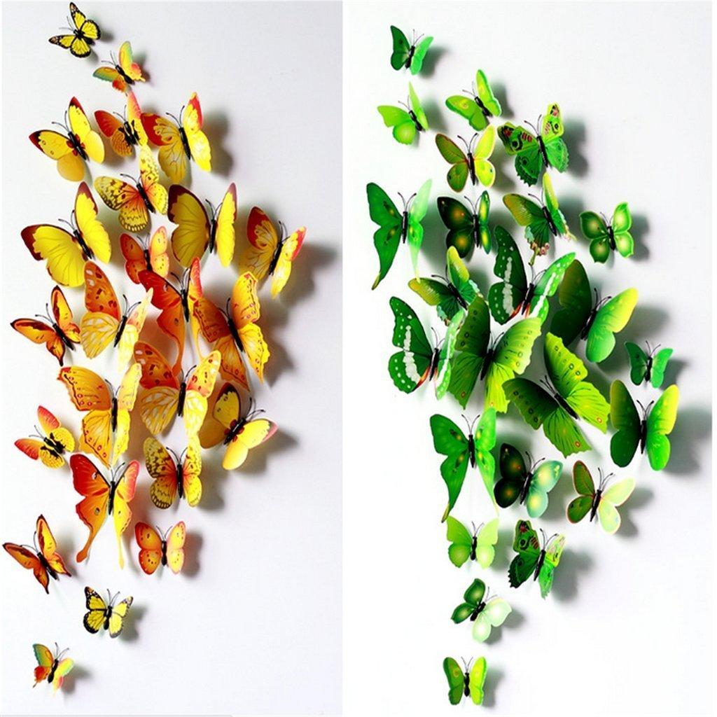 3d Butterfly Wall Decor Amazoncom Elecmotive 12 Pcs Yellow 12 Pcs Green 3d Butterfly
