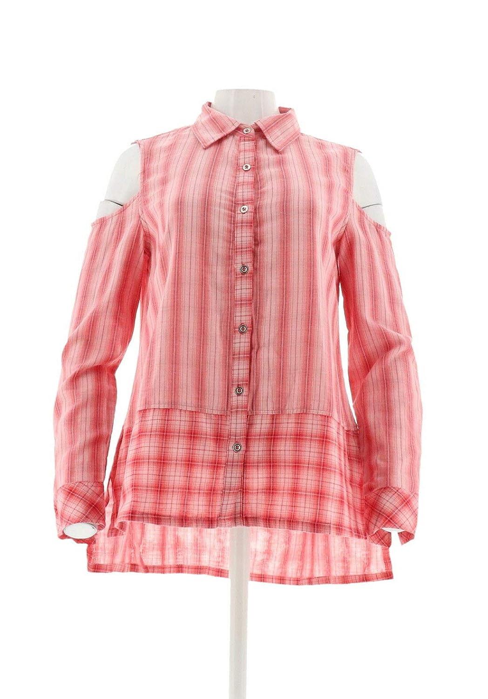 Diane Gilman DG2 Cold-Shoulder Striped Shirt Plaid Hem 520-849