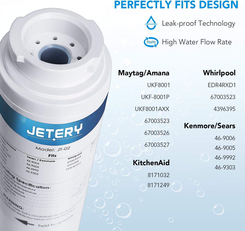 3 Pack JETERY Refrigerator Water Filter Maytag UKF8001AXX-750 Whirlpool 4396395