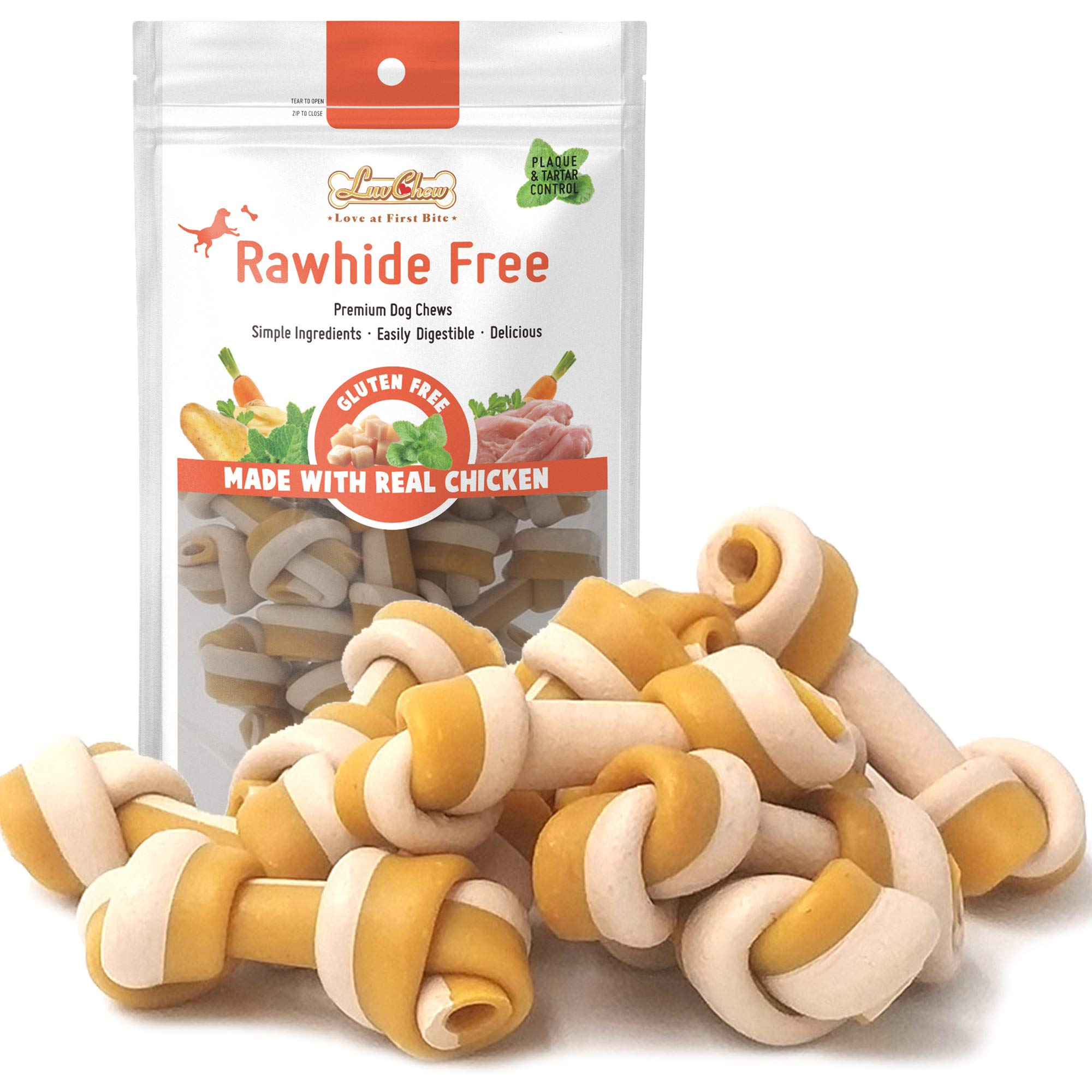 LuvChew Gluten Free Rawhide Free Chicken Bones Made with Limited Ingredients - Real Chicken & Wholesome Vegetables, Delicious, Healthy, Highly Digestible, USDA & FDA Approved (Mini 18pcs/Pack)