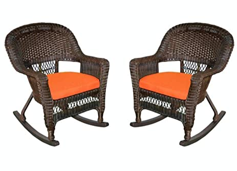Merveilleux Set Of 2 Espresso Brown Resin Wicker Outdoor Patio Rocker Chairs   Orange  Cushions