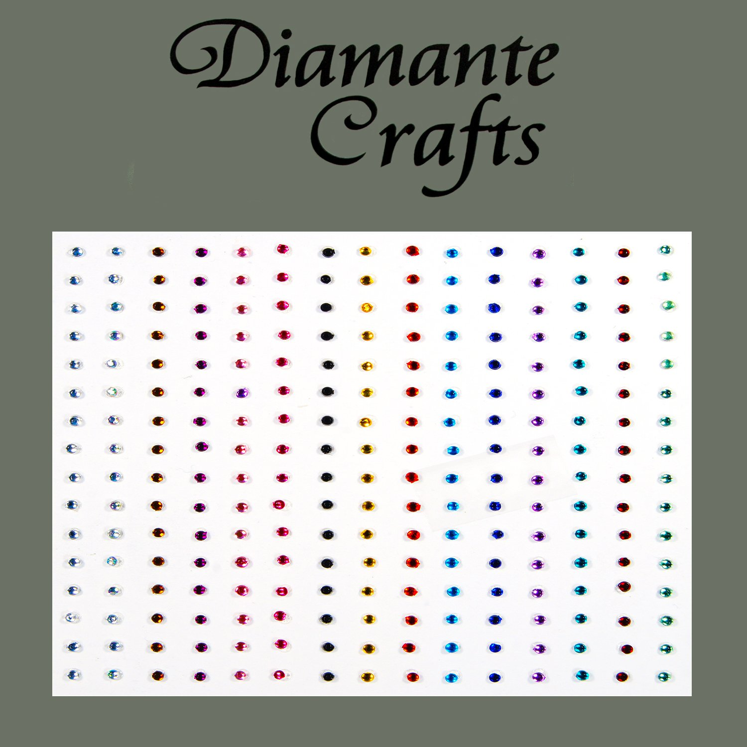 240 x 1mm Mixed Colours Diamante Self Adhesive Rhinestone Body Nail Vajazzle Gems - created exclusively for Diamante Crafts