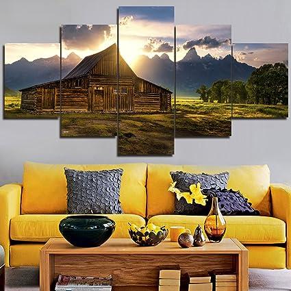 Canvas Artwork Landscape Big Paintings Grand Teton National Park Pictures  Prints Modern Wall Art 5 Piece