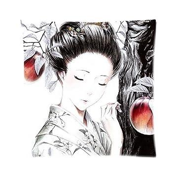 Amazon.com: Japonés mujer dibujo zpc444 arte cojín ...
