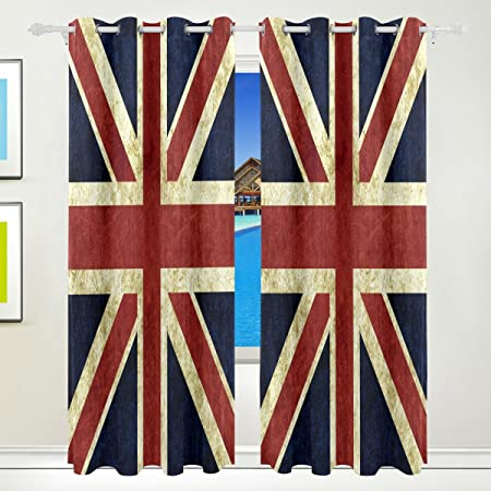 Use4 Vintage Flag Of England Union Jack Window Curtain Panels Drape 84 X 55  Inches For