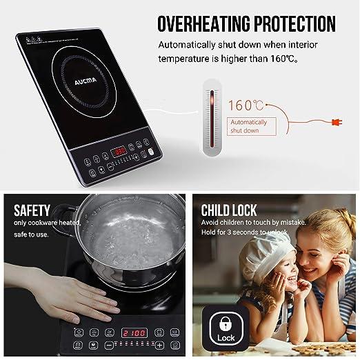 AUCMA Cocina de inducción Placa de inducción portátil de 2000W, 240℃,Placa de cocción eléctrica con temporizador de 24 horas y pantalla LED