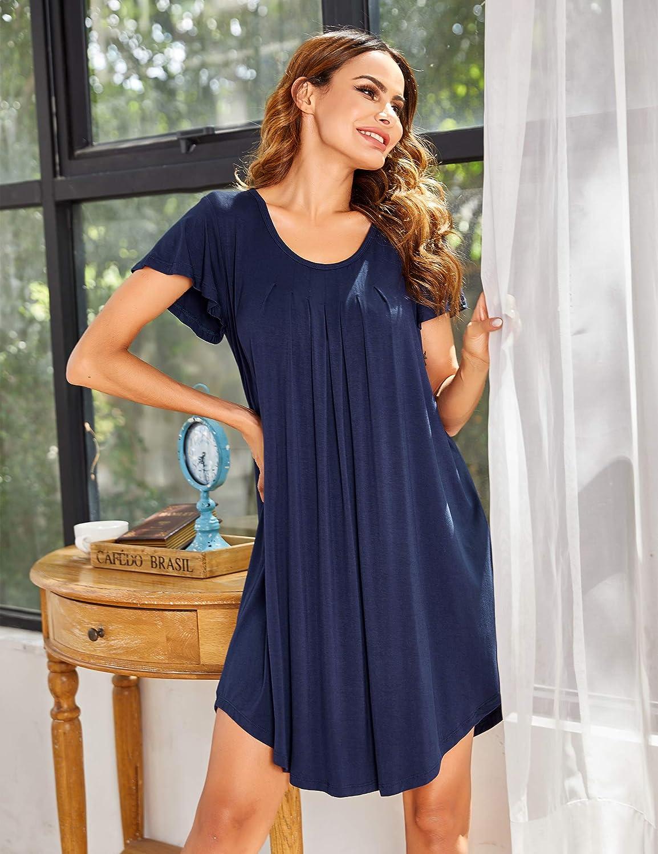 Ekouaer Nightgown Womens Sleepshirt Soft Sleepwear Pleated Nightshirt Comfy Sleep Dress Short Sleeve Flare Nightdress S-3XL