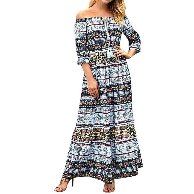 Amazon.com: Goddessvan Women Boho Off The Shoulder Lace Dress Long ...