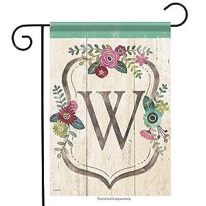 Aric Garden Flag - Classic Floral Monogram W