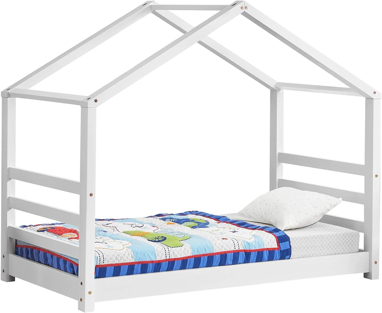 [en.casa] Cama para niños de Pino 80 x 160 cm Cama Infantil Forma de casa en Color Blanco Mate