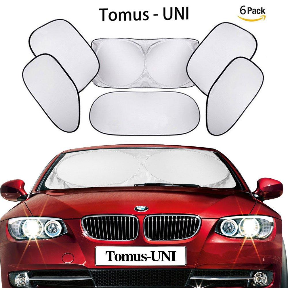 6 Piece Car Window Sunshade Protector Foldable Windshield UV Reflector Protector Keeps Vehicle Cool Tomus-UNI-Car