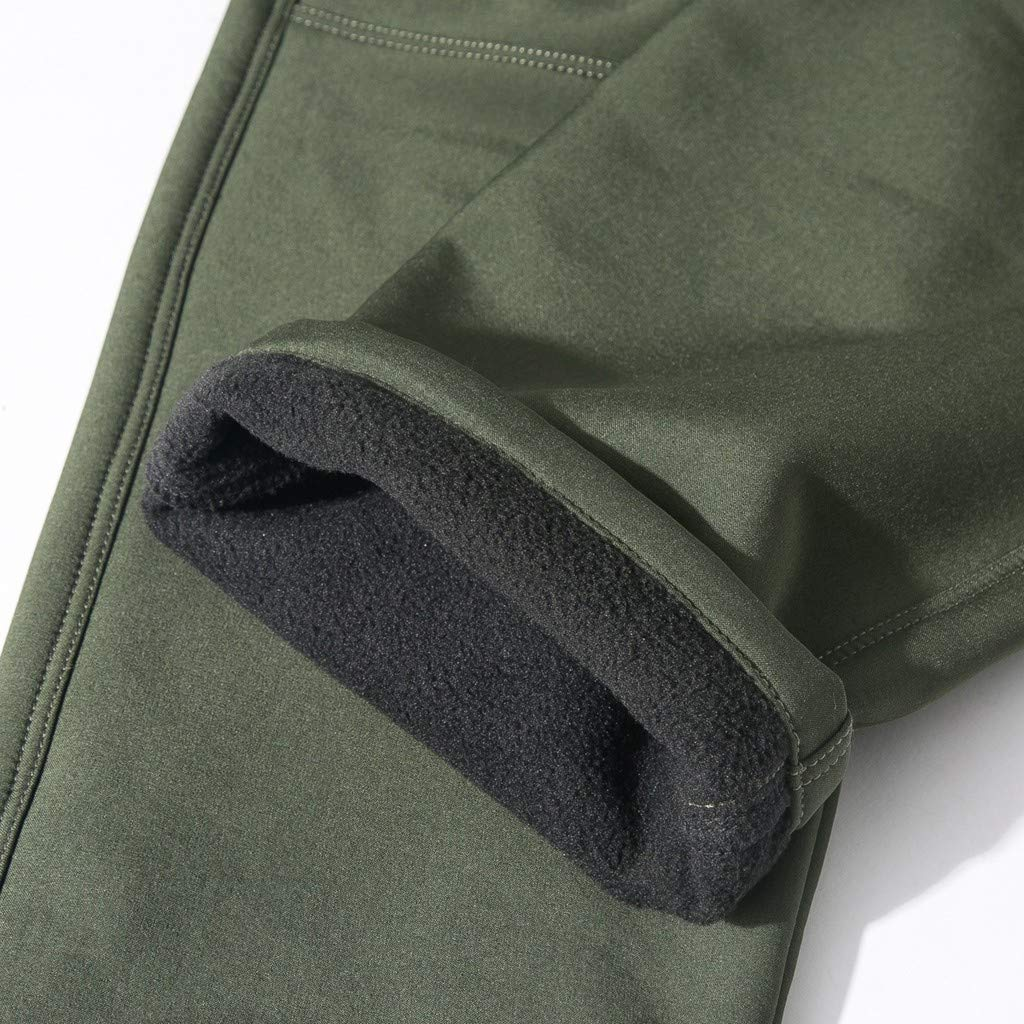 GNYD Mens 100/% Windproof Over Trousers Fleece Lined Outdoor Breathable Thicken Winter Warm Walking Pants Black Gray Army Green Men Waterproof Mountain-Climbing Thicken Long Pant Trousers