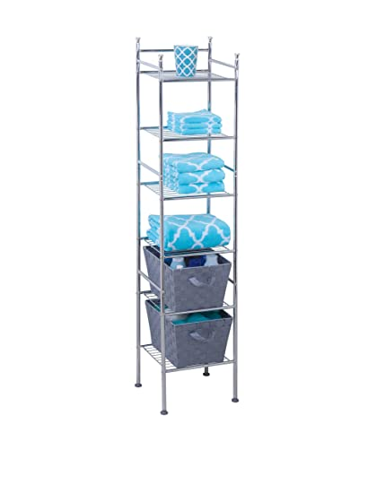 Amazon.com: Honey-Can-Do BTH-03484 6 Tier Metal Tower Bathroom Shelf ...