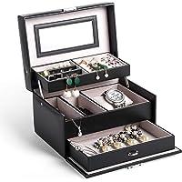 Boite a Bijoux, Homever Rangement Bijoux avec Miroir et Tiroirs Verrouillables, Noir élégant, Boîte à bijoux pour femme et fille