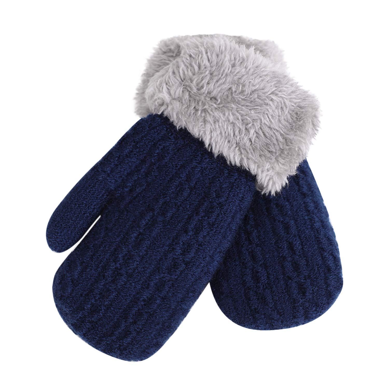 guantes de mu/ñeca para ni/ños guantes t/érmicos para ni/ñas y ni/&ntild dedo completo para invierno Guantes de punto de doble capa para ni/ños con cuello de felpa para colgar con cuerda calentadores de manos al aire libre