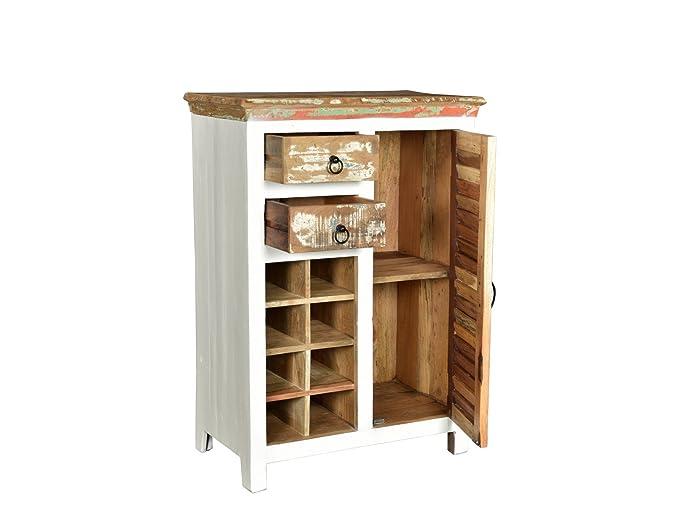 Woodkings® Highboard Perth weiß, recyceltes Massivholz bunt antik ...