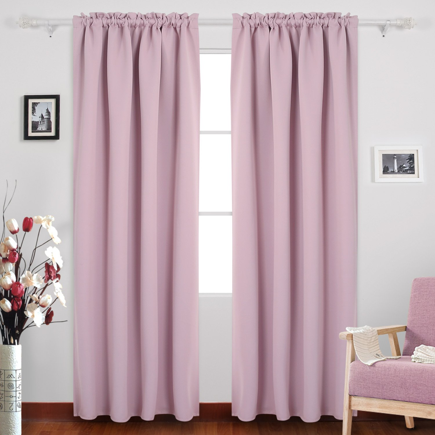 Lavender Deconovo Rod Pocket Blackout Curtains Thermal Insulated Curtains for Kids Room