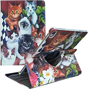 ipad Pro 9.7 inch case 2016 for ipad Pro Model A1674 /A1673 Cases 360 Degree Rotating Smart Leather Auto Sleep/Wake Cat Cover