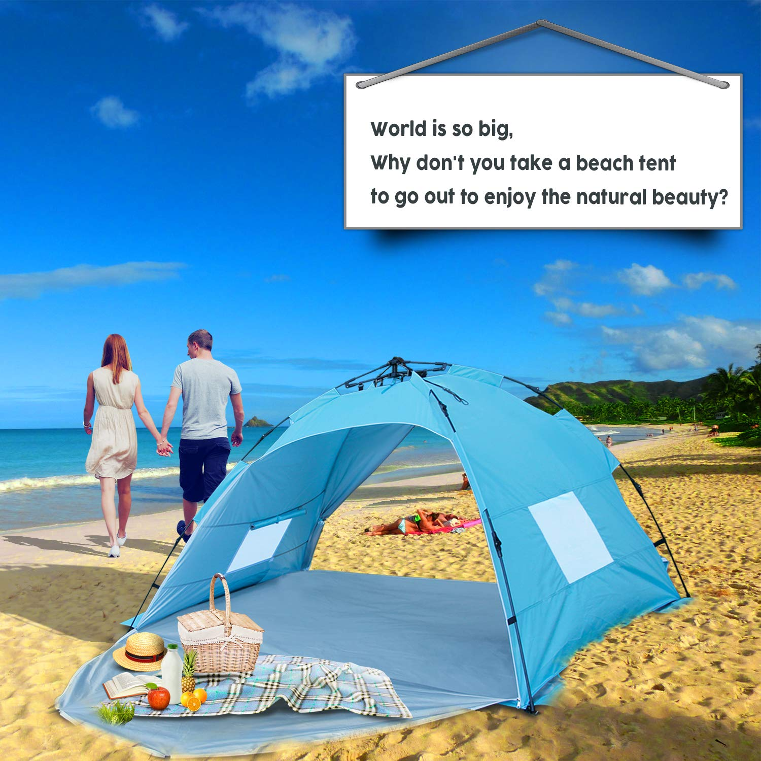 Sun-shelter Beach Tent 2 or 3 Person Automatic Camping Tent with UV 50 Protection Beach Shade for Outdoor Activities by Sun-shelter