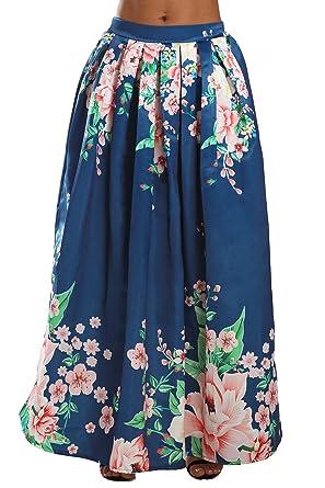 edea2407ae XAKALAKA Women's Summer Floral Print High Waist Flared Maxi Skirt at Amazon  Women's Clothing store: