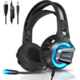 Gaming Headset with Microphone, 7.1 Stereo Surround Sound Wired Over Ear Headphone for Xbox One, PS4, PC, Laptop, Nintendo Sw