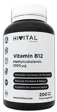 Vitamina B12 Metilcobalamina 1000 mcg | 200 comprimidos (Más de 6 meses de suministro) | Contribuye a la formación de glóbulos rojos, reduce el cansancio y ...
