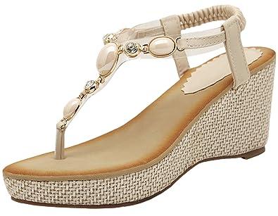 0ae84e2093ccb2 Thong Sandals for Women by Bigtree Summer Beach Bohemian Shiny Pearl High  Heel Wedge Sandals Beige