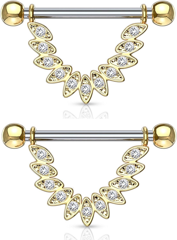 Gold Titanium Straight Barbell Flowers Nipple Jewelry Ring 14 gauge 14g