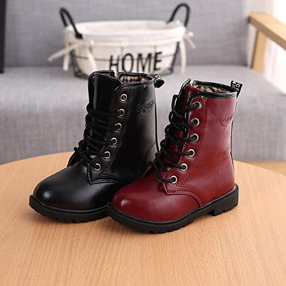 Bottes en cuir de martre d'hiver pour les enfants filles, Bottes longues M-W65 doublees de molleton noir 27 yards long = 16.4cm