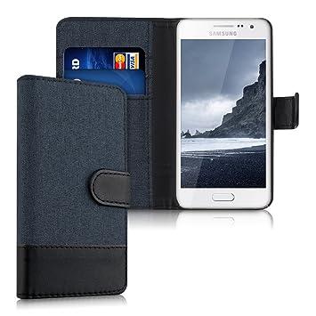 kwmobile Funda para Samsung Galaxy A3 (2015) - Carcasa de Tela y [Cuero sintético] - con Tapa y [Tarjetero] [Azul Oscuro/Negro]