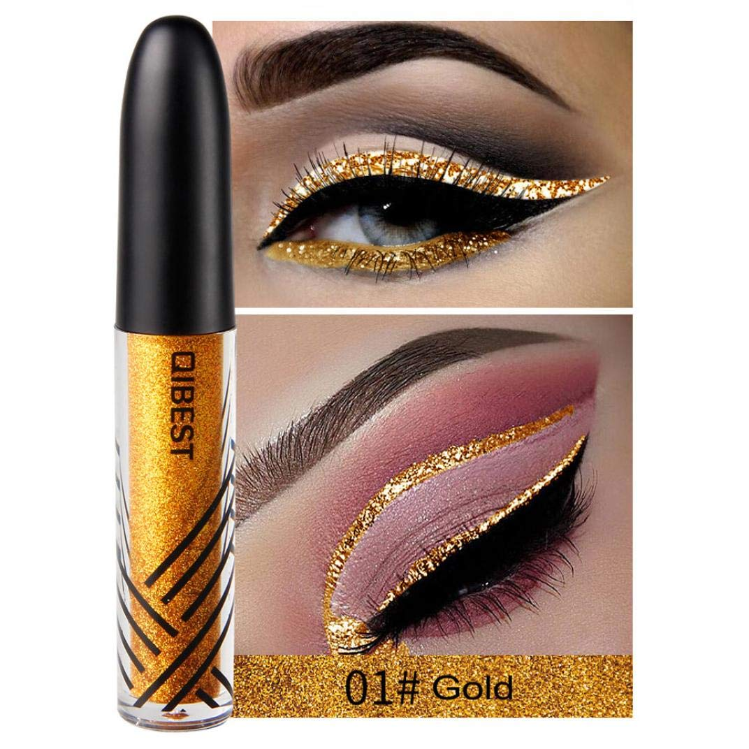 Gaddrt Metallic Eyeliner Shiny Smoky Eyes Beauty Eyeshadow Waterproof Glitter Liquid (F)