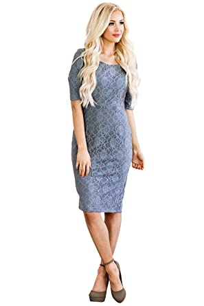 6150d368df107 Amazon.com: Mikarose June Modest Pencil Dress In Lace: Clothing