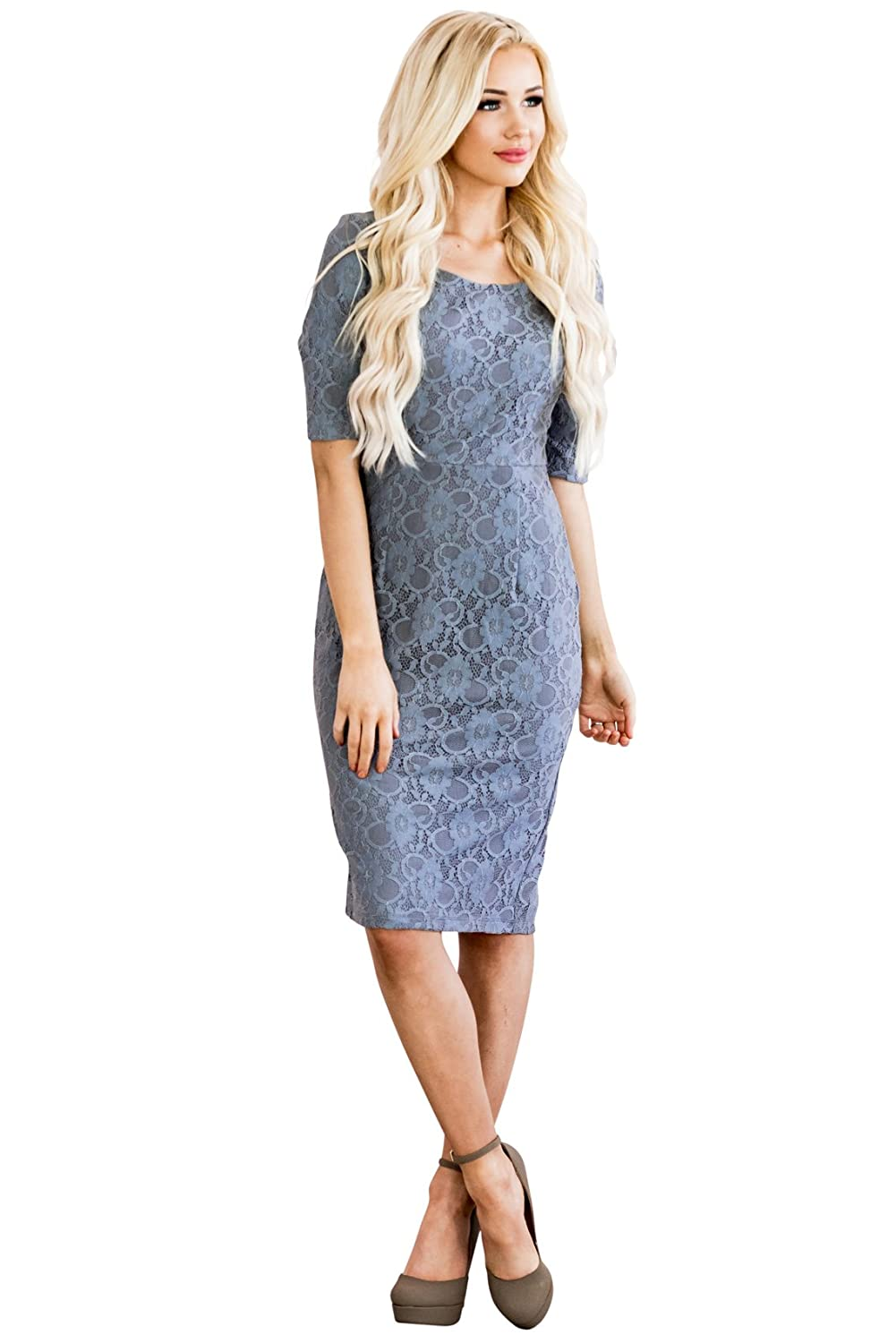 Modest knee-length full lace dress with pencil skirt   half-sleeves. Lace  overlay is a perfect match to the lining. Perfect for wearing to church 3c62f8d5f