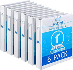 "3 Ring Binder 1 Inch, SEEKIND View Binders White, Holds Up to 8.5""11"" Paper, 1 inch White 3 Ring Binder with Clear Front Pocket and Spine Pocket for School, Home and Office Supply, 6 Pack"
