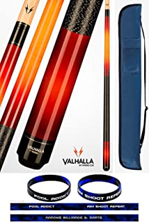 product image for Valhalla VA238 by Viking 2 Piece Pool Cue Stick Red Faded European Stain Nylon Wrap 18-21 oz. Plus Cue Case & Bracelet (Red VA238, 20)