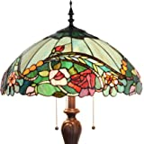 Bieye L10740 Rose Flower Tiffany Style Stained Glass Floor Lamp with 18-inch Wide Shade for Reading Working Bedroom, 3 Lights