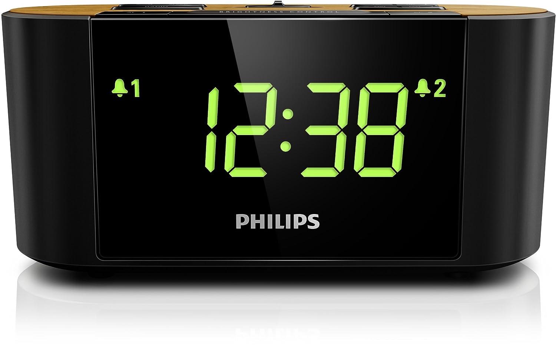 Philips AJ3570/12 Radio Reloj Despertador (FM / AM, cubierta hecha de bambú) - Negro: Amazon.es: Hogar
